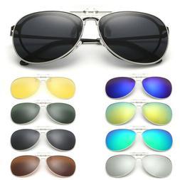 Clip-on Polarized Night Vision Aviator Sunglasses Flip-up Le