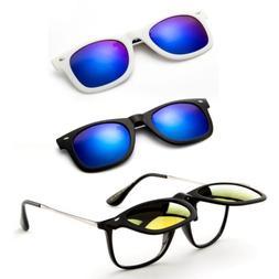Polarized Retro Frame Style Face Clip-on Flip-up Lens Glasse