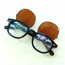 Retro Johnny Depp Glasses Polarized Clip-On Sunglasses, Myop