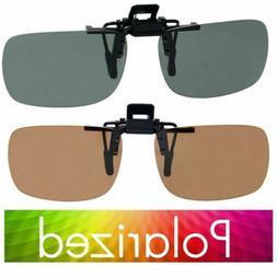 S M Polarized Glare Block Lens Clip On Flip Up Sunglasses Fo