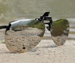 Silver Mirror Myopia Polarized Clip-on Flip-up Sunglasses Dr
