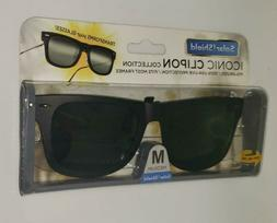 "SOLAR SHIELD Clip-on Polarized Sunglasses ""M"" Medium Black F"