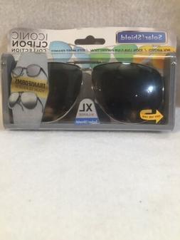 SOLAR SHIELD Clip-on Polarized Sunglasses XL Black Lens Full