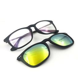 Square Light Weight Eyeglass Frame + Magnetic Polarized Clip