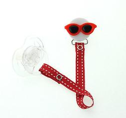 Sunglasses Pacifier Clip with Matching Ribbon