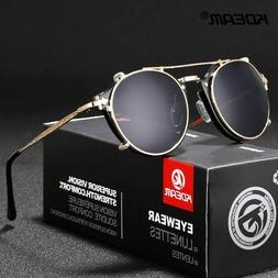 Sunglasses With Box Round Steampunk Clip On Men Women Baroqu