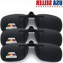 Unisex Frameless Clip-on Black Sunglasses Polarized Lens Wit