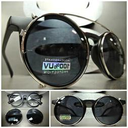 VINTAGE 60's RETRO Style Clear Lens CLIP ON SUN GLASSES Roun