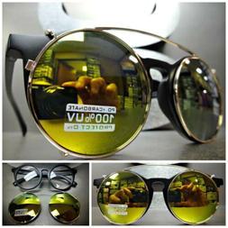 VINTAGE 60's Style Clear Lens CLIP ON SUN GLASSES Round Matt