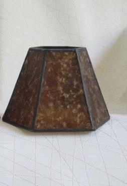 Vtg Old Stock Mini Mica Chandelier/Lamp Shade Amber Color He